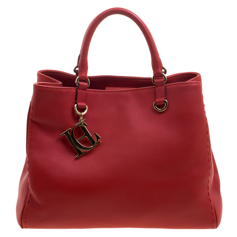 Carolina Herrera Red Leather Charm Shopping Tote