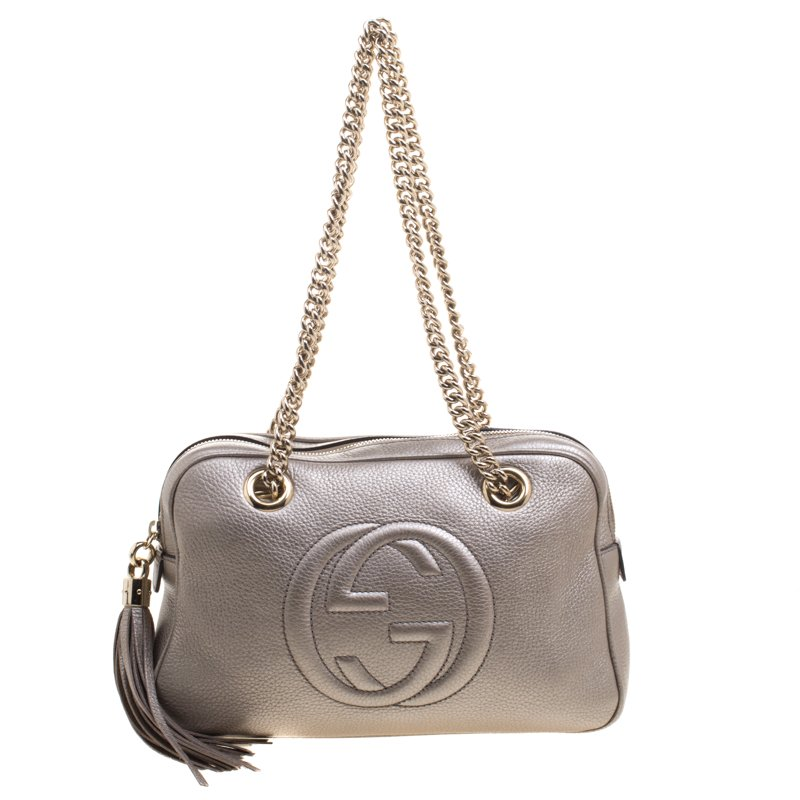 Gucci Metallic Grey Leather Medium Soho Chain Shoulder Bag