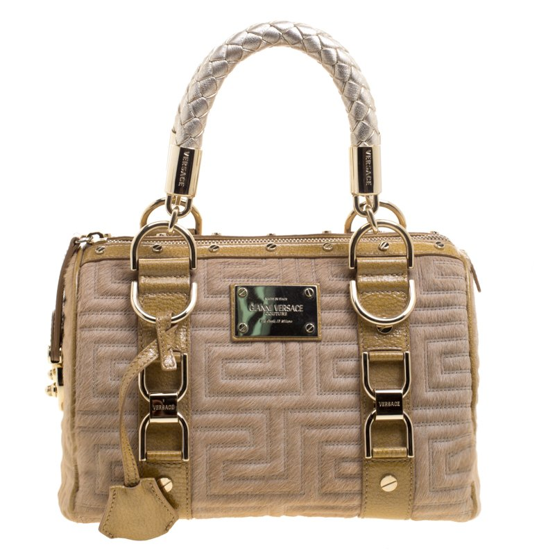Versace Beige Calf Hair and Leather Small Snap Out Of It Satchel