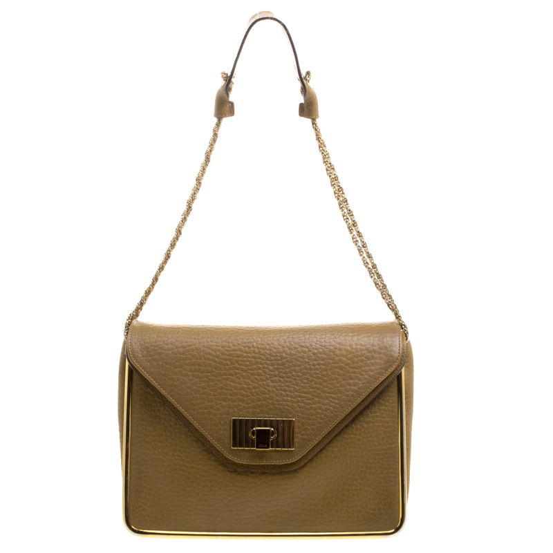 Chloe Mustard Pebbled Leather Medium Sally Flap Shoulder Bag
