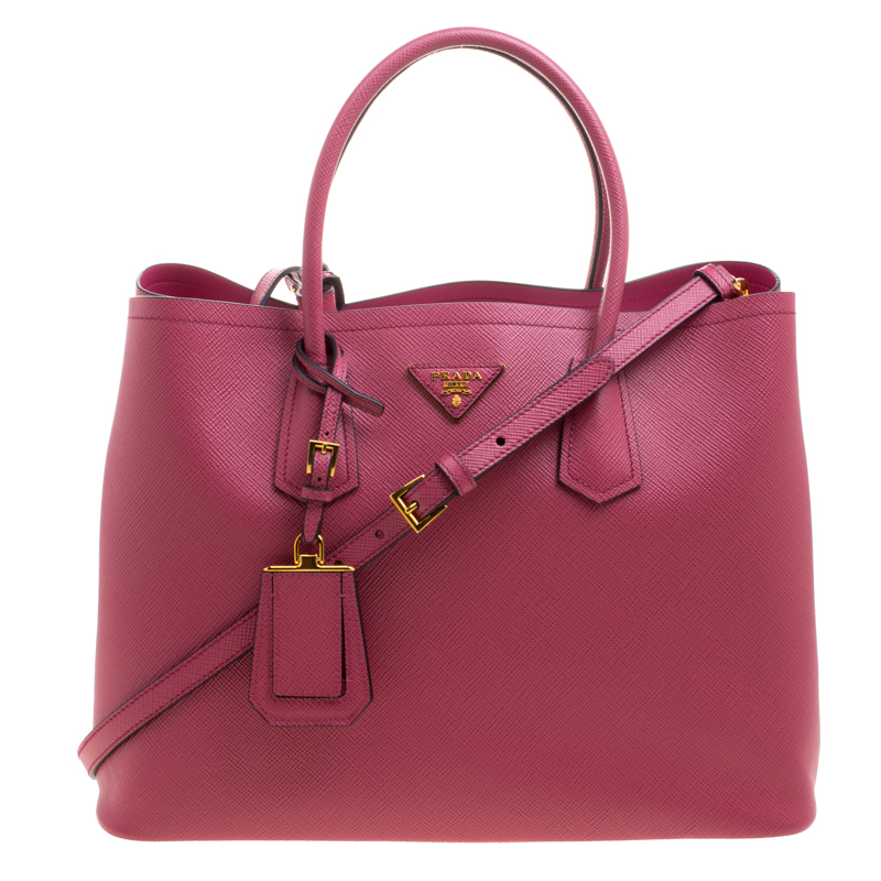 Prada Pink Saffiano Cuir Leather Double Handle Tote