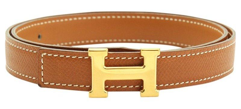 Hermes Brown Leather H Buckle Belt 65CM
