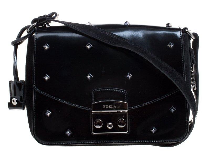 Furla Black Glossy Leather and Suede Studded Metropolis Shoulder Bag