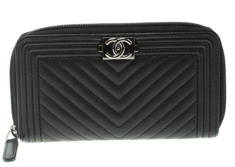 Chanel Black Chevron Leather Boy Zip Around Wallet