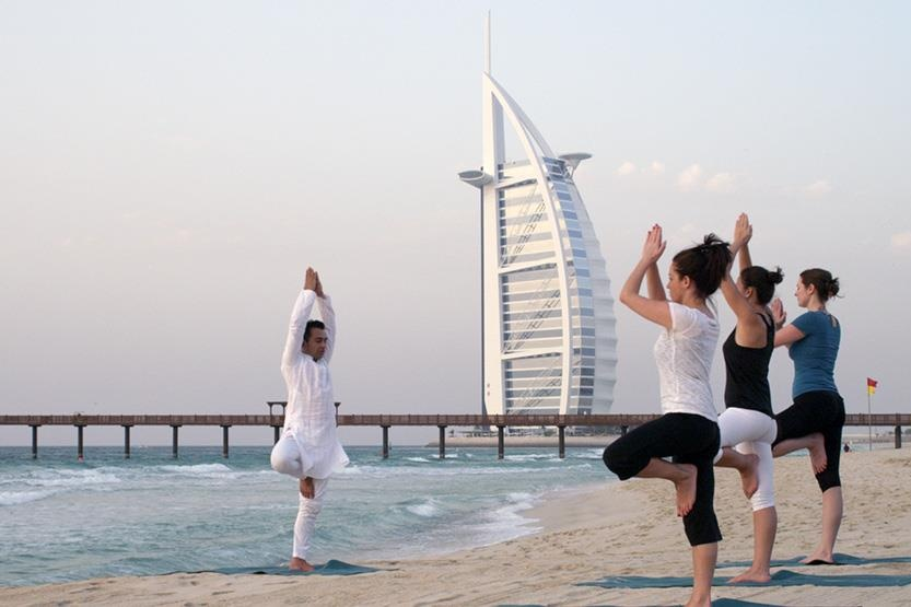 Sunset yoga at Talise Spa Dubai