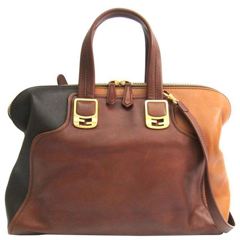 Fendi Tri Color Leather Large Chameleon Satchel Bag