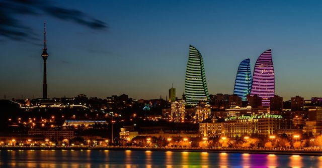 Neon night shot of Baku in Azerbaijan