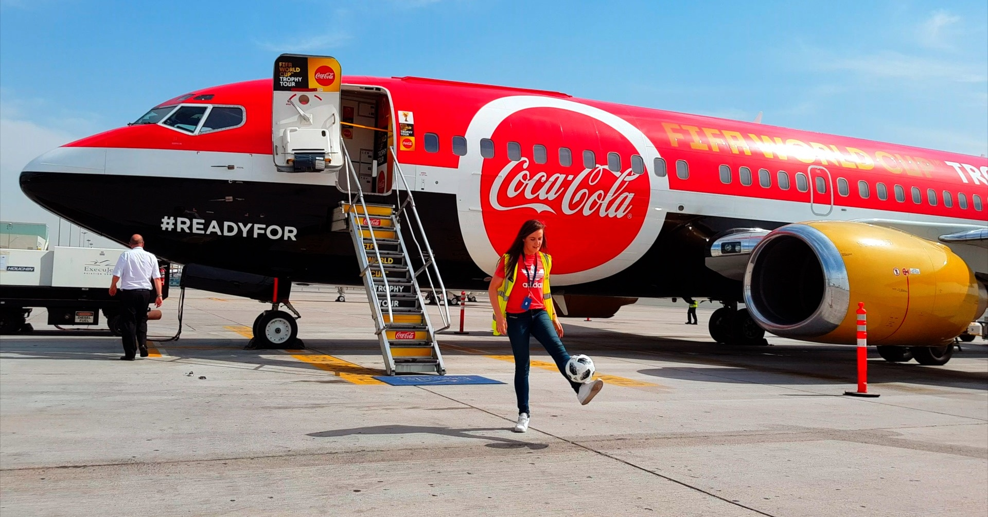 Coca-Cola plane lands in Dubai with the FIFA World Cup for the Trophy Tour