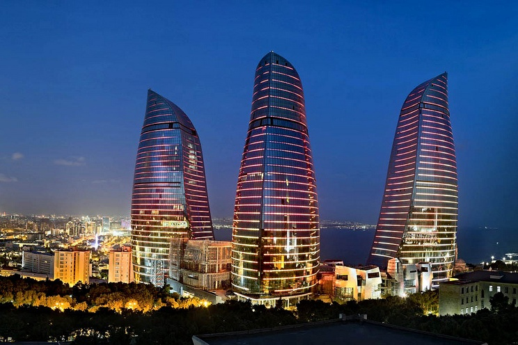 Flame Towers in Baku Azerbaijan