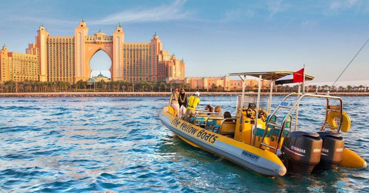 dubai marina cruise palm jumeirah dubai boat tour the yellow boats dubai Cropped