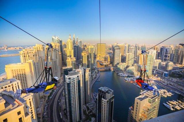 Sky-high air adventure in Dubai - XLine Dubai Marina zipline
