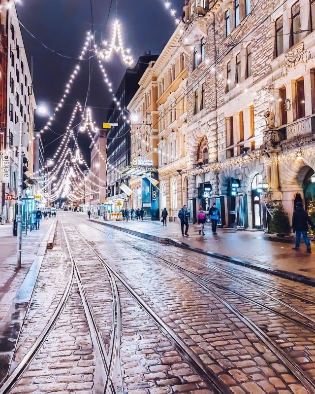 Helsinki streets lit up at night