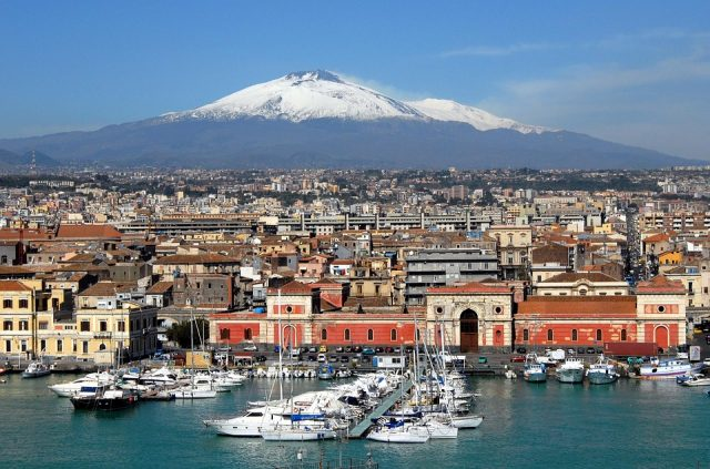 Catania coast and mountain view in Italy
