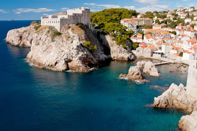View of Dubrovnik coastline and castles