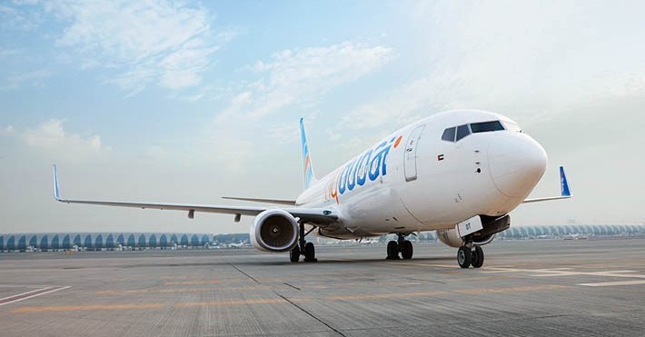 FlyDubai plane on tarmac at Dubai Airport