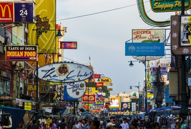 Bars and restaurants packed onto Khao San Road in Bankok, Thailand