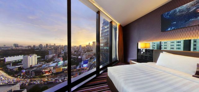 View from a bedroom at The Continent Hotel in Bangkok