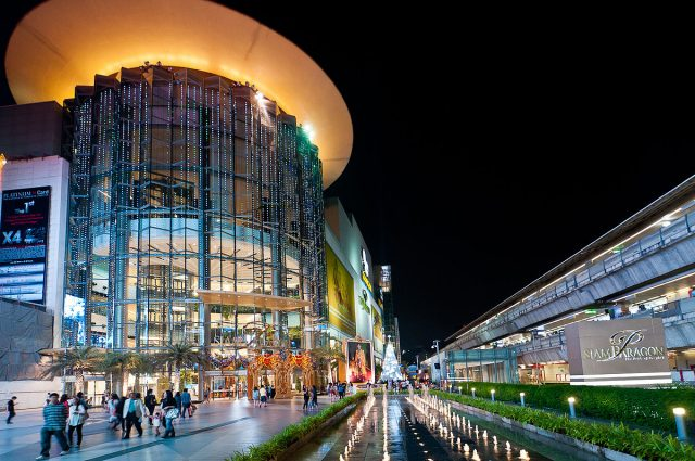 Night shot of Siam Paragon in Bangkok