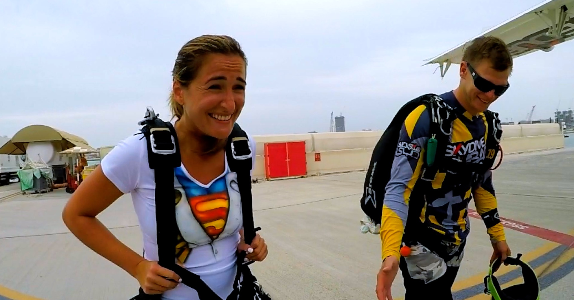 Our CEO looking scared before her Skydive Dubai Bucket List adventure in 2018!