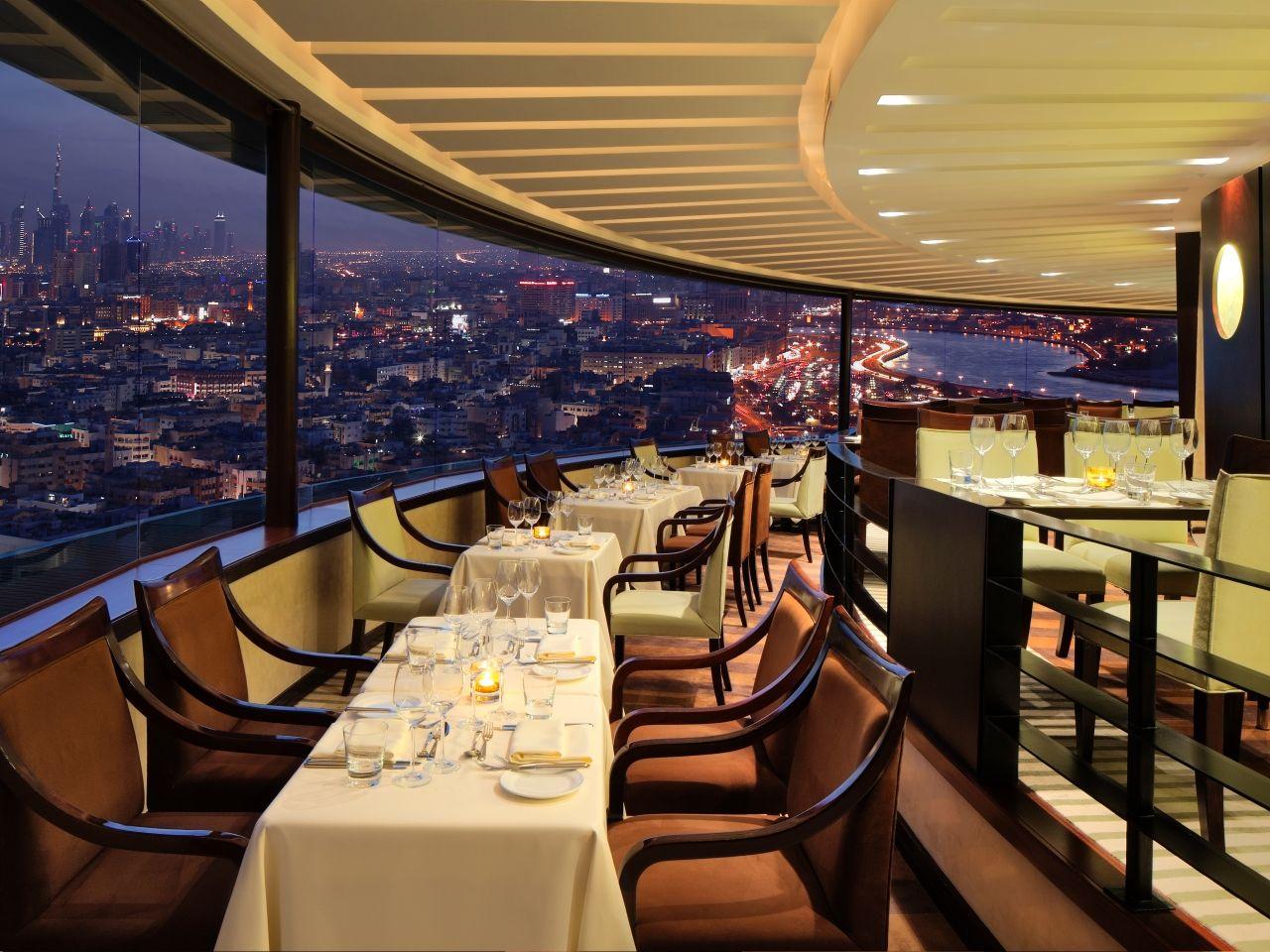 Dine on a revolving rooftop atAl Dawaar restaurant in Dubai