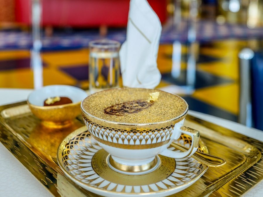 24-carat gold cappuccino at Burj Al Arab
