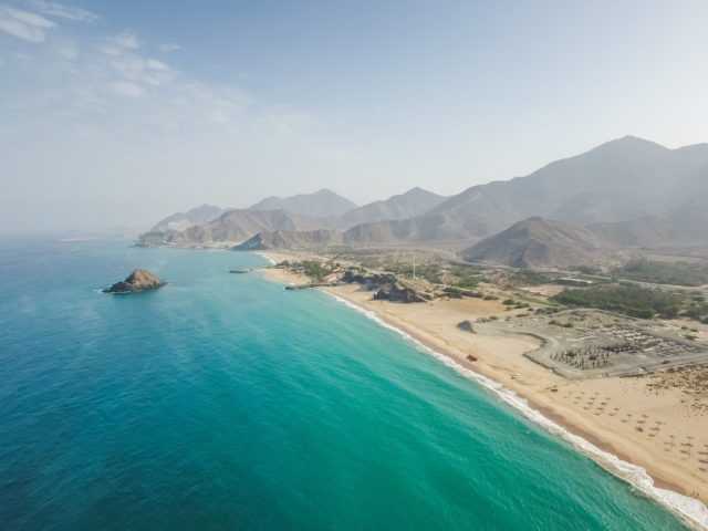Aerial view of Al Aqah beach and coastline.