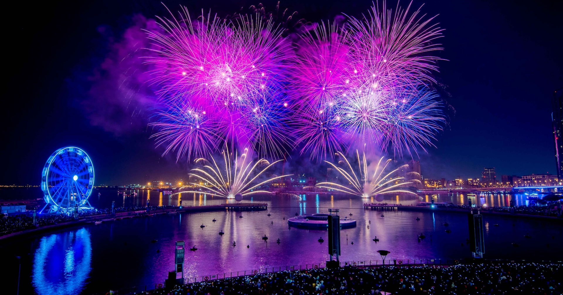 Dubai Festival City Mall fireworks at Festival Bay